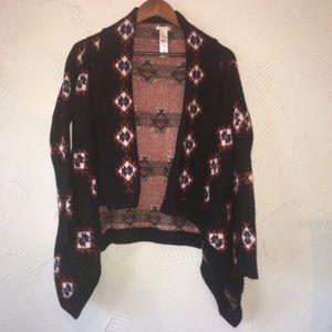 Boho Knit Aztec Print Cardigan Shrug